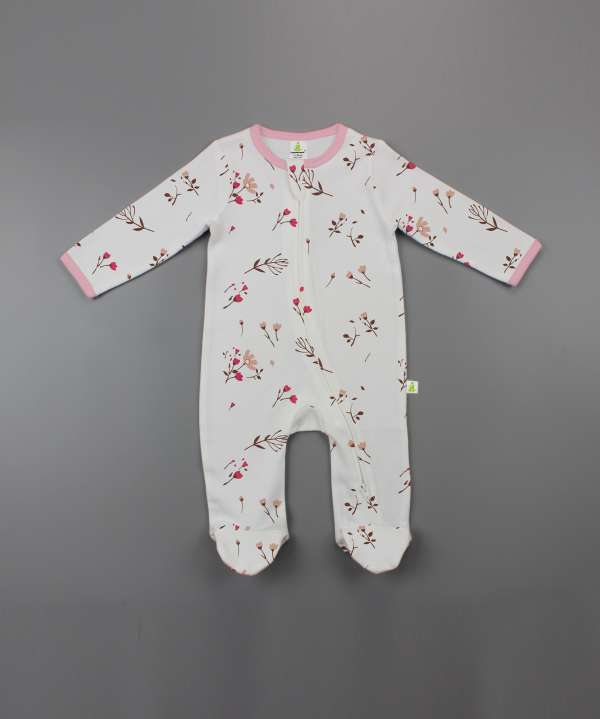 Red Bloom Long Sleeve Zipsuit with Feet-imababywear