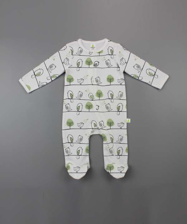 Tiny Tweets Long Sleeve Zipsuit with Feet-imababywear