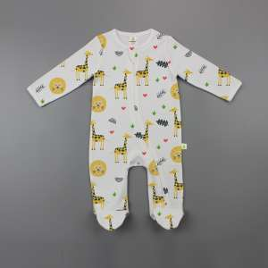 Yellow Forest Long Sleeve Zipsuit with Feet-imababywear
